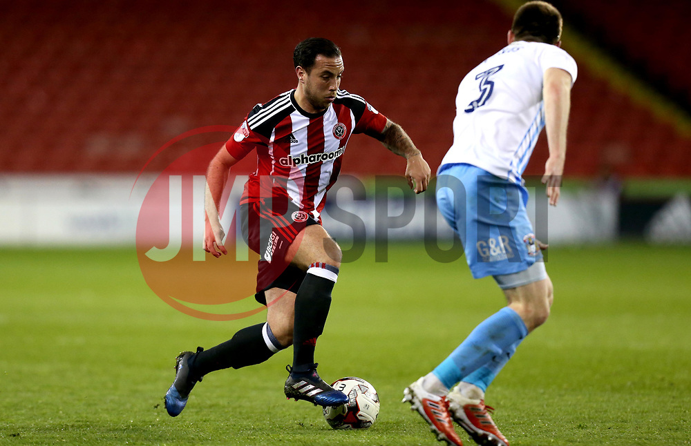 Samir Carruthers of Sheffield United takes on Chris Stokes of Coventry City - Mandatory by-line: Robbie Stephenson/JMP - 05/04/2017 - FOOTBALL - Brammall Lane - Sheffield, England - Sheffield United v Coventry City - Sky Bet League One