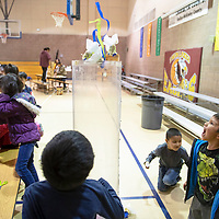 Logan Silversmith, 5, right,  reacts to seeing the wind tunnel in action during Explora night at Twin Lakes Elementary School, Thursday, Dec. 6. Explora is a childrens musuem in Albuquerque and brings the museum to schools throughout the state with traveling stations.