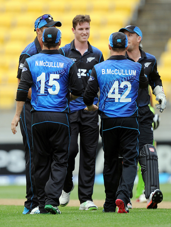 New Zealand's Adam Milne, centre, after taking the wicket of Pakistan's Shahid Afridi for 67 in the 1st One Day International cricket match at Westpac Stadium, New Zealand, Saturday, January 31, 2015. Credit:SNPA / Ross Setford