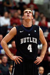 Dec 22, 2011; Stanford CA, USA;  Butler Bulldogs forward Erik Fromm (4) before a free throw against the Stanford Cardinal during the first half at Maples Pavilion.  Butler defeated Stanford 71-66. Mandatory Credit: Jason O. Watson-US PRESSWIRE