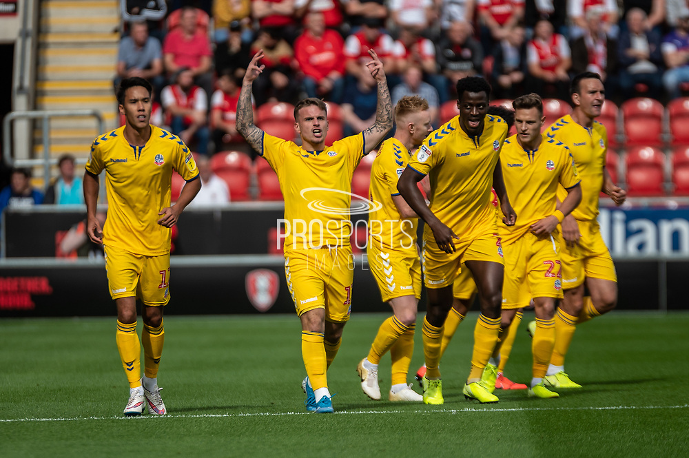 Thibaud Verlinden of Bolton Wanderers celebrating his team's first goal the EFL Sky Bet League 1 match between Rotherham United and Bolton Wanderers at the AESSEAL New York Stadium, Rotherham, England on 14 September 2019.