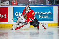KELOWNA, BC - MARCH 02:  Shane Farkas #1 of the Portland Winterhawks stretches on the ice during warm up against the Kelowna Rockets at Prospera Place on March 2, 2019 in Kelowna, Canada. (Photo by Marissa Baecker/Getty Images)