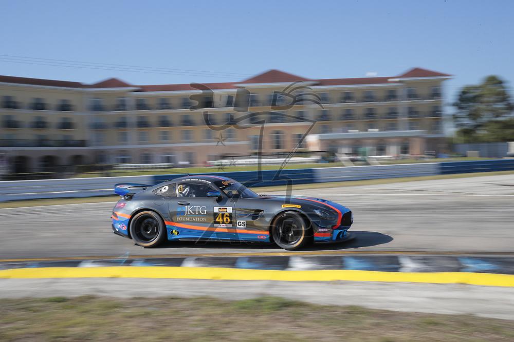 March 15, 2018 - Sebring, Florida, USA:  The Team TGM Mercedes-AMG GT4 races through the turns at the Alan Jay Automotive Network 120 at Sebring International Raceway in Sebring, Florida.