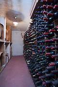 Bottles of wine in a wine cellar