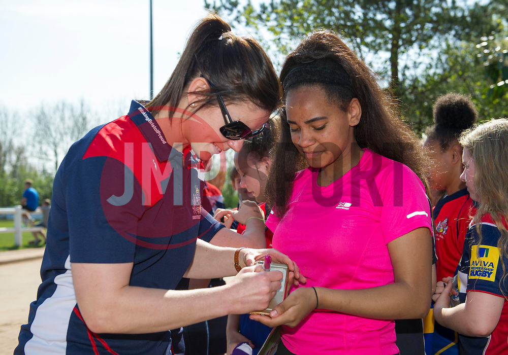Red Roses captain Sarah Hunter signs a young fan's mobile phone - Mandatory by-line: Paul Knight/JMP - 09/04/2017 - RUGBY - Cleve RFC - Bristol, England - Bristol Ladies v Saracens Women - RFU Women's Premiership Play-off Semi-Final