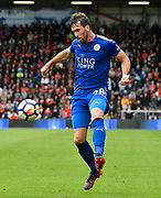 Christian Fuchs (28) of Leicester City during the Premier League match between Bournemouth and Leicester City at the Vitality Stadium, Bournemouth, England on 30 September 2017. Photo by Graham Hunt.