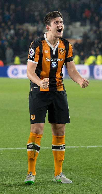 Harry Maguire of Hull City celebrates following the EFL Cup match at the KCOM Stadium, Hull<br /> Picture by Russell Hart/Focus Images Ltd 07791 688 420<br /> 29/11/2016