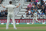 Adil Rashid of England catches Cheteshwar Pujara of India off Chris Woakes of England during the 3rd International Test Match 2018 match between England and India at Trent Bridge, West Bridgford, United Kingdon on 18 August 2018.