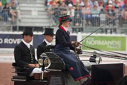 Georgina Hunt, (GBR), Chardon, Guus, Rambo, Waterreus - Driving dressage day 2 - Alltech FEI World Equestrian Games™ 2014 - Normandy, France.<br /> © Hippo Foto Team - Dirk Caremans<br /> 05/09/14