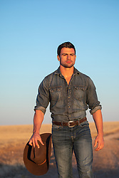 All American cowboy at sunset