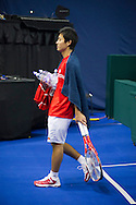 Japanese players depart training session prior to the Davis Cup match by BNP Paribas between Great Britain and Japan at the National Indoor Arena, Birmingham.<br /> Picture by Anthony Stanley/Focus Images Ltd 07791 688 420<br /> 04/03/2016
