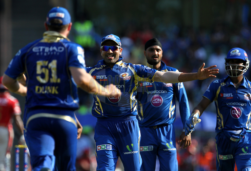 Rohit Sharma captain of the Mumbai Indians celebrates after getting the wicket of Glenn Maxwell of the Kings X1 Punjab during match 22 of the Pepsi Indian Premier League Season 2014 between the Mumbai Indians and the Kings XI Punjab held at the Wankhede Cricket Stadium, Mumbai, India on the 3rd May  2014<br /> <br /> Photo by Vipin Pawar / IPL / SPORTZPICS<br /> <br /> <br /> <br /> Image use subject to terms and conditions which can be found here:  http://sportzpics.photoshelter.com/gallery/Pepsi-IPL-Image-terms-and-conditions/G00004VW1IVJ.gB0/C0000TScjhBM6ikg