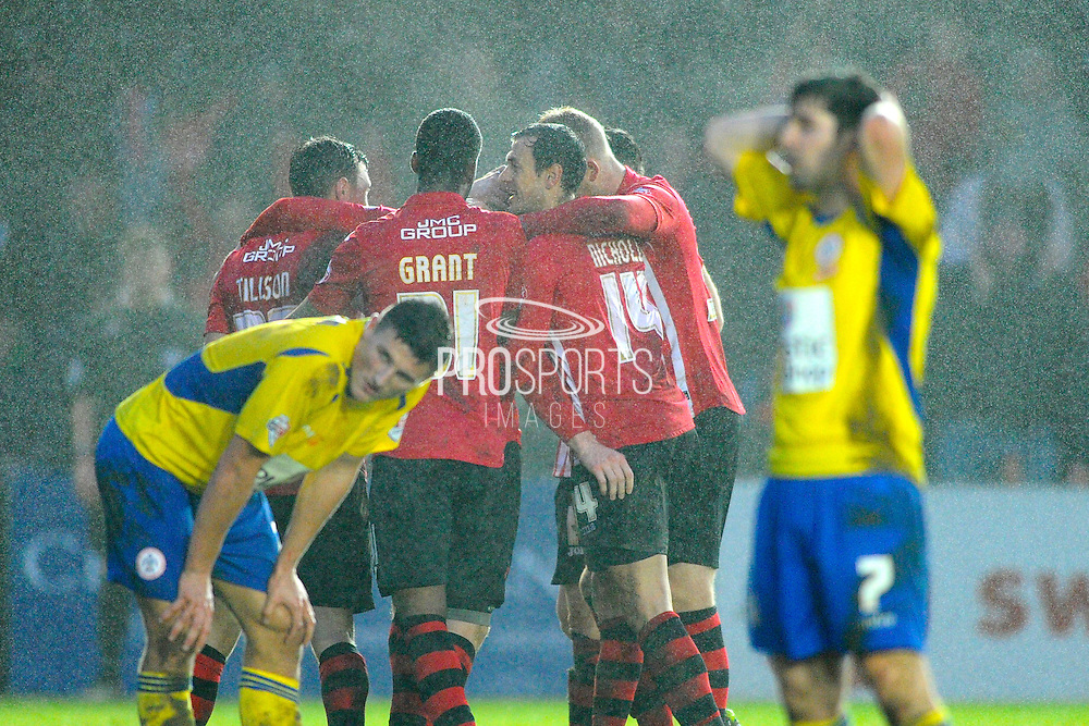 Exeter City players celebrate their winning goal during the Sky Bet League 2 match between Exeter City and Accrington Stanley at St James' Park, Exeter, England on 23 January 2016. Photo by Graham Hunt.