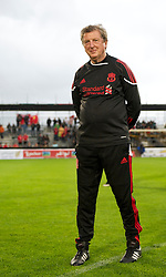 ALTACH, AUSTRIA - Saturday, July 17, 2010: Liverpool's manager Roy Hodgson walks on to inspect the waterlogged pitch before the Reds' first preseason match of the 2010/2011 season at the Cashpoint Arena. (Pic by David Rawcliffe/Propaganda)