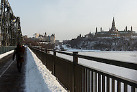 View of Chateau Laurier and Parliament Hill from Alexandra Bridge, Ottawa