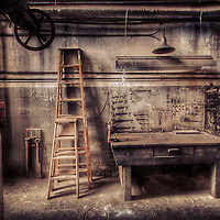 Old Seattle Power Plant table ladder in workshop