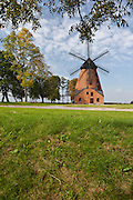 Antique Wind mill of brick in Klekotki village in Mazury region in Poland photo Piotr Gesicki