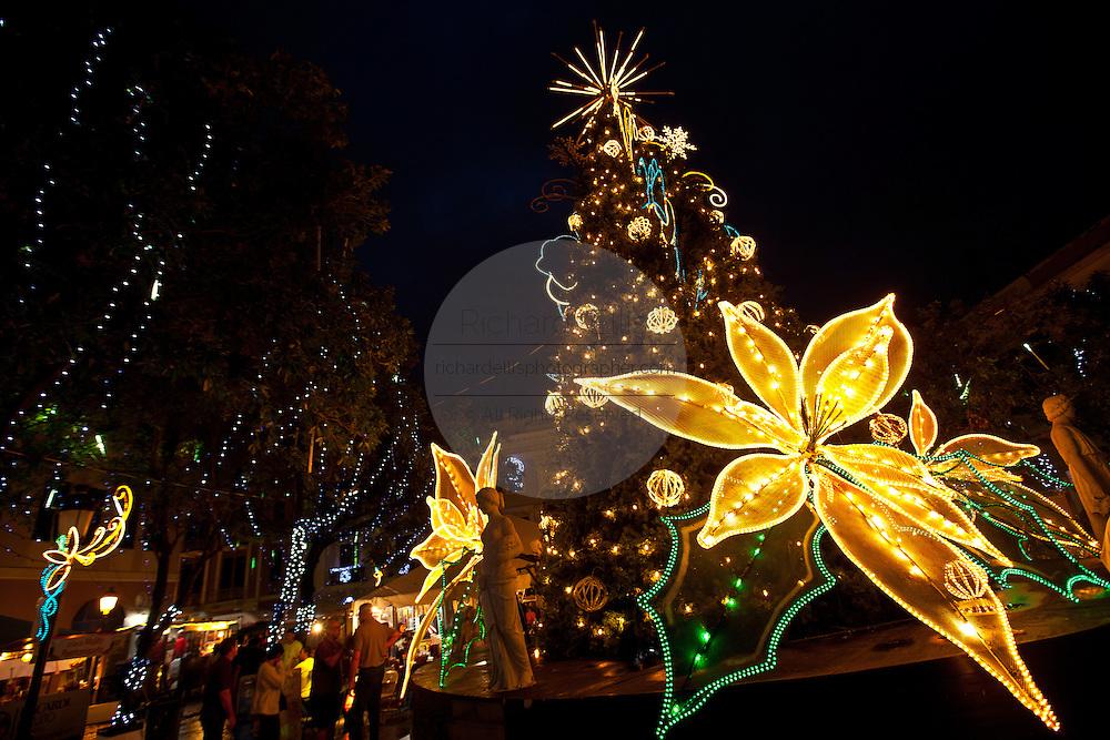 Christmas decorations in the Plaza de Armas Old San Juan, Puerto Rico.
