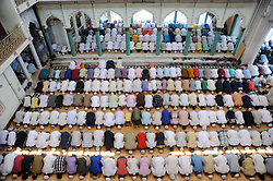 June 16, 2017 - Allahabad, Uttar Pradesh, India - Allahabad: Indian Muslims devotee offer prayer on the occasion of 3rd friday of Holy month Ramadan, Muslims across the world are observing the holy fasting month of Ramadan, where they abstain from food ,drink and other pleasures from sunrise to sunset. (Credit Image: © Prabhat Kumar Verma via ZUMA Wire)