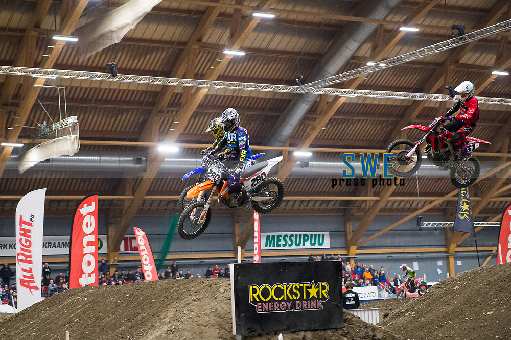 2019-11-08 | Messu- ja urheilukeskus, Tampere: (280) Cade Clason, (48) Joan Cros and (151) Harri Kullas during Tampere Supercross in Messu- ja urheilukeskus. ( Photo by: Elmeri Elo | Swe Press Photo )