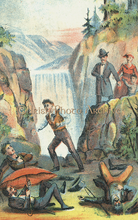 Uncle Tom's Cabin: or, Life Among the Lowly. Illustration from poster for 1870 theatrical production.   George, defending his wife and child from recapture. Family helped to safety in Canada by the 'Underground Railroad'.  Harriet Beecher Stowe (1811-1896) puiblished her anti-slavery novel in serial form 1851-1852 and as a boook in 1852, Chromolithograph.