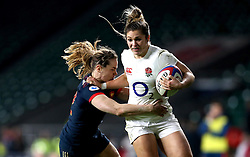 Amy Wilson Hardy of England is tackled by Elodie Poublan of France Women - Mandatory by-line: Robbie Stephenson/JMP - 04/02/2017 - RUGBY - Twickenham - London, England - England v France - Women's Six Nations
