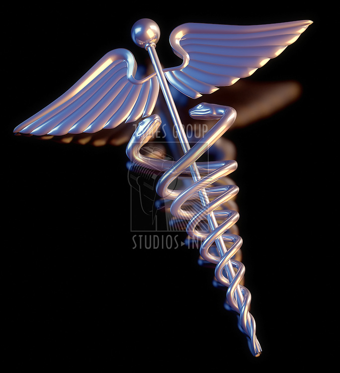 A Caduceus laying a black background
