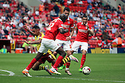 Burnley striker, Andre Grey (07) not able to find a way through during the Sky Bet Championship match between Charlton Athletic and Burnley at The Valley, London, England on 7 May 2016. Photo by Matthew Redman.
