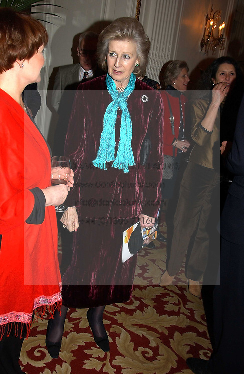HRH PRINCESS ALEXANDRA at a reception following a charity carol service in aid of the Mental Health Foundation attended by HRH Princess Michael of Kent and held at the Hype Park Mandarin Oriental Hotel, Knightsbridge, London on 30th November 2004.<br /><br />NON EXCLUSIVE - WORLD RIGHTS