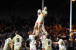 Iain Henderson of Ulster wins the ball at a lineout - Mandatory byline: Patrick Khachfe/JMP - 07966 386802 - 13/12/2019 - RUGBY UNION - The Twickenham Stoop - London, England - Harlequins v Ulster Rugby - Heineken Champions Cup