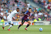 Philippe Coutinho of FC Barcelona evades Pablo Rosario of PSV Eindhoven during the UEFA Champions League, Group B football match between FC Barcelona and PSV Eindhoven on September 18, 2018 at Camp Nou stadium in Barcelona, Spain - Photo Manuel Blondeau / AOP Press / ProSportsImages / DPPI