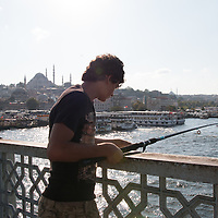 Fishermen on Istanbul's Galata Bridge.
