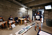 DETROIT, MI - JULY 9: Detroit Tigers grounds crew watching the game against the Los Angeles Dodgers at Comerica Park on July 9, 2014 in Detroit, Michigan. (Photo by Joe Robbins)