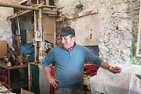CETARA, ITALY - 10 March 2014: Antonio Polverino, a 64 years old peasant, is here in his farmhouse before a lunch with local products, in Cetara, a village of fishermans in the Amalfi Coast, Italy, on March 10th 2014.<br /> Antonio Polverino was interviewed by Daniele De Michele, aka Donpasta, a DJ-economist with a passion for gastronomy.