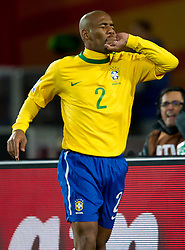 Brazil celebrates after Maicon scored fist goal during the 2010 FIFA World Cup South Africa Group G match between Brazil and North Korea at Ellis Park Stadium on June 15, 2010 in Johannesburg, South Africa.  (Photo by Vid Ponikvar / Sportida)