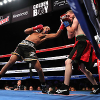 VERONA, NY - JUNE 08: Danielito Zorrilla (L) punches the face of Julio Perez during the Golden Boy on ESPN fight night at Turning Stone Resort Casino on June 8, 2018 in Verona, New York. (Photo by Alex Menendez/Getty Images) *** Local Caption *** Danielito Zorrilla; Julio Perez