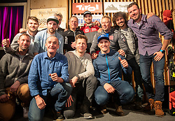 09.02.2019, Tirolberg, Aare, SWE, FIS Weltmeisterschaften Ski Alpin, Ischgl Abend, im Bild v.l. Andreas Puelacher (Sportlicher Leiter ÖSV Ski Alpin Herren)r, Hannes Reichelt (AUT), Matthias Mayer (AUT), Bronzemedaillengewinner Vincent Kriechmayr (AUT) mit Team // f.l. Andreas Puelacher Austrian Ski Association head Coach alpine Men's Hannes Reichelt of Austria Matthias Mayer of Austria Bronze medalist Vincent Kriechmayr of Austria with team during the Ischgl evening for the FIS Ski World Championships 2019 at the Tirolberg in Aare, Sweden on 2019/02/09. EXPA Pictures © 2019, PhotoCredit: EXPA/ Johann Groder