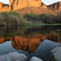 Reflection of an Apache face, Arizona, USA