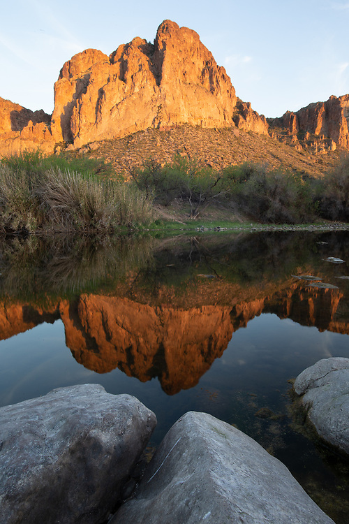 Reflection of an Apache face, Arizona, USA