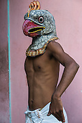 Bird mask for Raas festival<br /> Mising Tribe (Mishing or Miri Tribe)<br /> Majuli Island, Brahmaputra River<br /> Largest river island in India<br /> Assam,  ne India