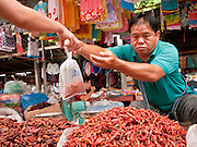 25 JUNE 2011 - SANPATONG, THAILAND: A vendor sells chilis at the Sanpatong buffalo market near Chiang Mai, Thailand, June 25. The buffalo market in Sanpatong started as a weekly gathering of farmers and traders buying and selling water buffalo, the iconic beast of burden in Southeast Asia, more than 60 years ago and has grown into one of the largest weekend markets in northern Thailand. Buffalo and cattle are still a main focus of the market, but traders also buy and sell fighting cocks, food, clothes, home brew and patent medicines.   PHOTO BY JACK KURTZ