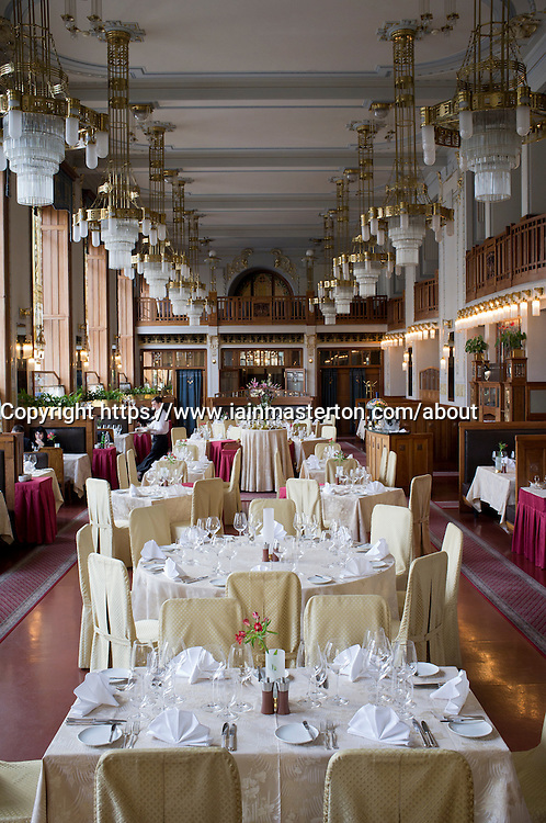 Interior of Art Nouveau  Francouzska restaurant in Obecni Dum or Municipal House in Prague in Czech Republic