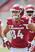 FAYETTEVILLE, AR - SEPTEMBER 5:  Hunter Henry #84 of the Arkansas Razorbacks warms up before a game against the UTEP Miners at Razorback Stadium on September 5, 2015 in Fayetteville, Arkansas.  The Razorbacks defeated the Miners 48-13.  (Photo by Wesley Hitt/Getty Images) *** Local Caption *** Hunter Henry