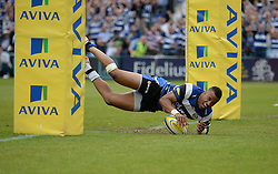 Bath Full Back Anthony Watson scores a try. - Photo mandatory by-line: Alex James/JMP - Mobile: 07966 386802 - 23/05/2015 - SPORT - Rugby - Bath - Recreation Ground - Bath v Leicester Tigers - Aviva Premiership Rugby semi-final