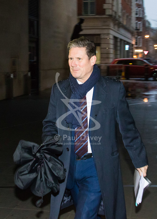 London, December 10 2017. The Labour Party's shadow Brexit Secretary Kier Starmer arrives at the BBC's Broadcasting House in London to appear on the Andrew Marr Show. © Paul Davey