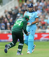 Cricket - 2019 ICC Cricket World Cup - Group Stage: England vs. Pakistan<br /> <br /> Jonny Bairstow of England walks to the pavilion as Sarfaraz celebrates catching him in the slips , at Trent Bridge, Nottingham.<br /> <br /> COLORSPORT/ANDREW COWIE