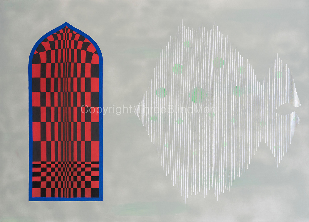 Mike Harridge. Red Door &amp; Fine Lines.<br /> 39.5&quot; x 55&quot;<br /> Acrylic on canvas.<br /> 120,000/-