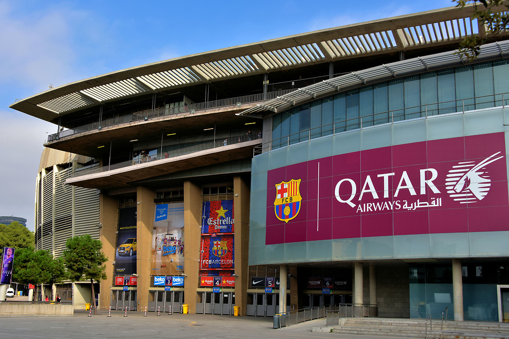 Camp Nou Sports Stadium in Les Corts District in Barcelona, Spain<br />