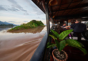 Laos, Champasak province. Vat Phou Cruise at sunset.