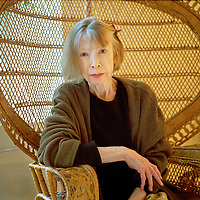 Joan Didion, author best known for her novels and her literary journalism. Her novels and essays explore the disintegration of American morals and cultural chaos, where the overriding theme is individual and social fragmentation. A sense of anxiety or dread permeates much of her work.
